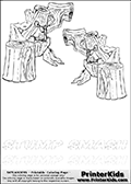 Coloring page with two Stump Smash colorable characters from Skylanders. This Skylanders coloring page with Stump Smash is designed with two smaller Stump Smash coloring figures on the top of the page, and two lines with letters below the character. The Skylanders name - stealth-elf- is shown on both lines with letters that have dotted lines. The Stump Smash letters are blank inside so that the letters can be used for coloring or so that the actual letter can be drawn on top of the dotted lines. The top line is shown with a dark black dotted line and the bottom line of letters is shown in  light gray color so that is is harder to see.