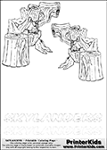 Coloring page with two Stump Smash colourable characters from Skylanders. This Skylanders coloring page with Stump Smash is designed with two smaller Stump Smash coloring figures on the top of the page, and two lines with letters below the character. SKYLANDERS is shown on both lines with letters that have dotted lines. The SKYLANDERS letters are blank inside so that the letters can be used for coloring or so they can be re-drawn with help from the dotted lines. The top line of letters is shown with a dark black dotted line, the other in a light gray color.