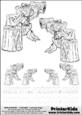 Coloring book sheet with 6 Stump Smash colourable characters from Skylanders. This Skylanders coloring page with Stump Smash is designed with 6 x Stump Smash coloring figures in several sizes on the top of the page, and two lines with letters below the character. SKYLANDERS is shown on both lines with letters that have dotted lines. The SKYLANDERS letters are blank inside so that the letters can be used for coloring or so they can be re-drawn with help from the dotted lines. The top line of letters is shown with a dark black dotted line, the other in a light gray color.