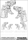 Coloring and activity page with no less than 6 x Stump Smash colorable characters from Skylanders. This Skylanders coloring and activity page with Stump Smash is designed with 6 Stump Smash coloring figures - some tiny, some small and some medium sized on the top of the page, and two lines with letters below the character. The Skylanders name - stealth-elf- is shown on both lines with letters that have dotted lines. The Stump Smash letters are blank inside so that the letters can be used for coloring or so that the actual letter can be drawn on top of the dotted lines. The top line is shown with a dark black dotted line and the bottom line of letters is shown in  light gray color so that is is harder to see.