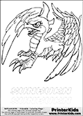 Coloring page with Sunburn from Skylanders. This Skylanders coloring page with Sunburn is designed with a Sunburn coloring figure on the top of the page, and two lines with letters below the character. SKYLANDERS is shown on both lines with letters that have dotted lines. The SKYLANDERS letters are blank inside so that the letters can be used for coloring or so they can be re-drawn with help from the dotted lines. The top line of letters is shown with a dark black dotted line, the other in a light gray color.