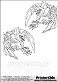 Coloring page with two Sunburn colorable characters from Skylanders. This Skylanders coloring page with Sunburn is designed with two smaller Sunburn coloring figures on the top of the page, and two lines with letters below the character. The Skylanders name - stealth-elf- is shown on both lines with letters that have dotted lines. The Sunburn letters are blank inside so that the letters can be used for coloring or so that the actual letter can be drawn on top of the dotted lines. The top line is shown with a dark black dotted line and the bottom line of letters is shown in  light gray color so that is is harder to see.