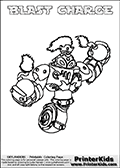 A printable coloring page with Skylanders Swap Force figure BLAST CHARGE. This is one of the MANY printable coloring pages here at www.PrinterKids.com that have a colorable Skylanders Swap Force figure with one of more parts from MAGNA CHARGE. This printable coloring sheet show the Skylanders Swap Force figure combination BLAST CHARGE, that drawn with the upper part of the BLAST ZONE Skylander and the lower part of the MAGNA CHARGE Skylander. In this coloring page, the BLAST CHARGE skylander parts are drawn so that the Skylander can be colored in full - as one character or figure (note that an online coloring page version is available as well via the link below the coloring page image). Print and color this Skylanders Swap Force BLAST CHARGE page that is drawn by Loke Hansen (http://www.LokeHansen.com) based on the original artwork of the Skylanders characters from the Skylanders Swap Force website. Be sure to check out the many other Skylanders Swap force coloring pages!