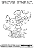Printable colouring page that show the BLAST DRILLA Skylanders Swap Force combined figure. The Skylander in this page to color- BLAST DRILLA is a combined Skylander that is made from two different Skylanders figures. It has the upper part of the BLAST ZONE Skylander and the lower part of the GRILLA DRILLA Skylander. This coloring page for printing show the Skylander in full and include a colorable name of the figure at the top too. Print and color this Skylanders Swap Force BLAST DRILLA page that is drawn by Loke Hansen (http://www.LokeHansen.com) based on the original artwork of the Skylanders characters.