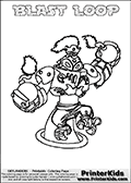 This coloring page (for printing or coloring online) show the Skylanders Swap Force figure combination BLAST LOOP. BLAST LOOP is drawn with the upper part of the BLAST ZONE Skylander and the lower part of the HOOT LOOP Skylander in this colorable sheet. The parts that make up the BLAST LOOP skylanders character are drawn so that the Skylander can be colored in full - as one character or figure. Print and color this Skylanders Swap Force BLAST LOOP page that is drawn by Loke Hansen (http://www.LokeHansen.com) based on the original artwork of the Skylanders characters from the Skylanders Swap Force website.