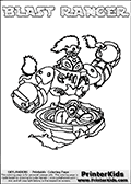 Free printable page for kids coloring with the BLAST RANGER character from Skylanders Swap Force. The Skylanders character in this coloring page - BLAST RANGER has the upper body part of the BLAST ZONE Skylanders Swap Force character and the lower part of the FREE RANGER Skylanders Swap Force character. This coloring page for printing show the Skylander in full along with a colorable name. Print and color this Skylanders Swap Force BLAST RANGER page that is drawn by Loke Hansen (http://www.LokeHansen.com) based on the original artwork of the Skylanders characters.