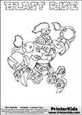 Skylanders Swap Force coloring page with BLAST RISE. The BLAST RISE Skylander figure cannot be bought as it is, it must be made by combining parts from BLAST zone AND SPY RISE! BLAST RISE is drawn with the upper part of the BLAST ZONE Skylander and the lower part of the SPY RISE Skylander. In this coloring page, the BLAST RISE skylander can be colored completely. The colouring page is drawn with a thin shaded line and has a colorable text with the BLAST RISE letters as well. Print and color this Skylanders Swap Force BLAST RISE coloring book page that is drawn and made available by Loke Hansen (http://www.LokeHansen.com) based on the original artwork of the Skylanders characters from the Skylanders Swap Force website. This line variant is the -editors choice- where detail areas and line appearance are in best balance. Be sure to check the two other variants of this coloring page for more stroke (the line used to draw the BLAST RISE with) options.