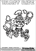 Printable and online colorable page for Skylanders Swap Force fans with the combination figure called BLAST RISE. BLAST RISE must be made by combining parts from other Skylanders Swap Force characters! BLAST RISE is drawn with the upper part of the BLAST ZONE Skylander and the lower part of the SPY RISE Skylander, the part used from each Skylander is used in the new skylanders name. In this coloring page, the BLAST RISE skylander can be colored completely. The colouring page is drawn with a very thick line making it ideal for the youngest Skylanders Swap Force fans. The downside of the thick line is that some detail areas become unavailable for coloring. The coloring page has a colorable text with the BLAST RISE letters as well. Print and color this Skylanders Swap Force BLAST RISE coloring book page that is drawn and made available by Loke Hansen (http://www.LokeHansen.com) based on the original artwork of the Skylanders characters from the Skylanders Swap Force website. Be sure to check the two other variants of this coloring page for more line width options.