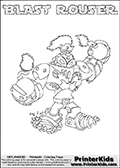 Printable or online colorable Skylanders Swap Force coloring page. This colouring sheet show the combination skylander BLAST ROUSER that has to be made by combining parts from other Skylanders Swap Force characters! BLAST ROUSER is drawn with the upper part of the BLAST ZONE Skylander and the lower part of the RUBBLE ROUSER Skylander. In this coloring page, the BLAST ROUSER skylander can be colored in full - as a complete skylander. The colouring page is drawn with a super thin line and has a colorable text with the BLAST ROUSER letters as well. Print and color this Skylanders Swap Force BLAST ROUSER coloring book page that is drawn and made available by Loke Hansen (http://www.LokeHansen.com) based on the original artwork of the Skylanders characters from the Skylanders Swap Force website. This coloring page variant has the highest amount of detail areas due to the thin drawing line used. Be sure to check the two other variants of this coloring page for more stroke (the line used to draw the BLAST ROUSER with) options.
