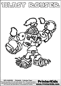 Printable and online colorable page for Skylanders Swap Force fans with the combination figure called BLAST ROUSER. BLAST ROUSER must be made by combining parts from other Skylanders Swap Force characters! BLAST ROUSER is drawn with the upper part of the BLAST ZONE Skylander and the lower part of the RUBBLE ROUSER Skylander, the part used from each Skylander is used in the new skylanders name. In this coloring page, the BLAST ROUSER skylander can be colored completely. The colouring page is drawn with a very thick line making it ideal for the youngest Skylanders Swap Force fans. The downside of the thick line is that some detail areas become unavailable for coloring. The coloring page has a colorable text with the BLAST ROUSER letters as well. Print and color this Skylanders Swap Force BLAST ROUSER coloring book page that is drawn and made available by Loke Hansen (http://www.LokeHansen.com) based on the original artwork of the Skylanders characters from the Skylanders Swap Force website. Be sure to check the two other variants of this coloring page for more line width options.