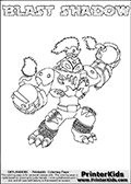 Skylanders Swap Force coloring page with BLAST SHADOW. The BLAST SHADOW Skylander figure cannot be bought as it is, it must be made by combining parts from BLAST zone AND TRAP SHADOW! BLAST SHADOW is drawn with the upper part of the BLAST ZONE Skylander and the lower part of the TRAP SHADOW Skylander. In this coloring page, the BLAST SHADOW skylander can be colored completely. The colouring page is drawn with a thin shaded line and has a colorable text with the BLAST SHADOW letters as well. Print and color this Skylanders Swap Force BLAST SHADOW coloring book page that is drawn and made available by Loke Hansen (http://www.LokeHansen.com) based on the original artwork of the Skylanders characters from the Skylanders Swap Force website. This line variant is the -editors choice- where detail areas and line appearance are in best balance. Be sure to check the two other variants of this coloring page for more stroke (the line used to draw the BLAST SHADOW with) options.