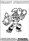Printable and online colorable page for Skylanders Swap Force fans with the combination figure called BLAST SHADOW. BLAST SHADOW must be made by combining parts from other Skylanders Swap Force characters! BLAST SHADOW is drawn with the upper part of the BLAST ZONE Skylander and the lower part of the TRAP SHADOW Skylander, the part used from each Skylander is used in the new skylanders name. In this coloring page, the BLAST SHADOW skylander can be colored completely. The colouring page is drawn with a very thick line making it ideal for the youngest Skylanders Swap Force fans. The downside of the thick line is that some detail areas become unavailable for coloring. The coloring page has a colorable text with the BLAST SHADOW letters as well. Print and color this Skylanders Swap Force BLAST SHADOW coloring book page that is drawn and made available by Loke Hansen (http://www.LokeHansen.com) based on the original artwork of the Skylanders characters from the Skylanders Swap Force website. Be sure to check the two other variants of this coloring page for more line width options.