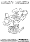 Printable or online colorable Skylanders Swap Force coloring page. This colouring sheet show the combination skylander BLAST SHAKE that has to be made by combining parts from other Skylanders Swap Force characters! BLAST SHAKE is drawn with the upper part of the BLAST ZONE Skylander and the lower part of the RATTLE SHAKE Skylander. In this coloring page, the BLAST SHAKE skylander can be colored in full - as a complete skylander. The colouring page is drawn with a super thin line and has a colorable text with the BLAST SHAKE letters as well. Print and color this Skylanders Swap Force BLAST SHAKE coloring book page that is drawn and made available by Loke Hansen (http://www.LokeHansen.com) based on the original artwork of the Skylanders characters from the Skylanders Swap Force website. This coloring page variant has the highest amount of detail areas due to the thin drawing line used. Be sure to check the two other variants of this coloring page for more stroke (the line used to draw the BLAST SHAKE with) options.