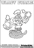 Skylanders Swap Force coloring page with BLAST SHAKE. The BLAST SHAKE Skylander figure cannot be bought as it is, it must be made by combining parts from BLAST zone AND RATTLE SHAKE! BLAST SHAKE is drawn with the upper part of the BLAST ZONE Skylander and the lower part of the RATTLE SHAKE Skylander. In this coloring page, the BLAST SHAKE skylander can be colored completely. The colouring page is drawn with a thin shaded line and has a colorable text with the BLAST SHAKE letters as well. Print and color this Skylanders Swap Force BLAST SHAKE coloring book page that is drawn and made available by Loke Hansen (http://www.LokeHansen.com) based on the original artwork of the Skylanders characters from the Skylanders Swap Force website. This line variant is the -editors choice- where detail areas and line appearance are in best balance. Be sure to check the two other variants of this coloring page for more stroke (the line used to draw the BLAST SHAKE with) options.