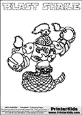 Printable and online colorable page for Skylanders Swap Force fans with the combination figure called BLAST SHAKE. BLAST SHAKE must be made by combining parts from other Skylanders Swap Force characters! BLAST SHAKE is drawn with the upper part of the BLAST ZONE Skylander and the lower part of the RATTLE SHAKE Skylander, the part used from each Skylander is used in the new skylanders name. In this coloring page, the BLAST SHAKE skylander can be colored completely. The colouring page is drawn with a very thick line making it ideal for the youngest Skylanders Swap Force fans. The downside of the thick line is that some detail areas become unavailable for coloring. The coloring page has a colorable text with the BLAST SHAKE letters as well. Print and color this Skylanders Swap Force BLAST SHAKE coloring book page that is drawn and made available by Loke Hansen (http://www.LokeHansen.com) based on the original artwork of the Skylanders characters from the Skylanders Swap Force website. Be sure to check the two other variants of this coloring page for more line width options.