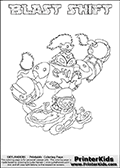Printable or online colorable Skylanders Swap Force coloring page. This colouring sheet show the combination skylander BLAST SHIFT that has to be made by combining parts from other Skylanders Swap Force characters! BLAST SHIFT is drawn with the upper part of the BLAST ZONE Skylander and the lower part of the NIGHT SHIFT Skylander. In this coloring page, the BLAST SHIFT skylander can be colored in full - as a complete skylander. The colouring page is drawn with a super thin line and has a colorable text with the BLAST SHIFT letters as well. Print and color this Skylanders Swap Force BLAST SHIFT coloring book page that is drawn and made available by Loke Hansen (http://www.LokeHansen.com) based on the original artwork of the Skylanders characters from the Skylanders Swap Force website. This coloring page variant has the highest amount of detail areas due to the thin drawing line used. Be sure to check the two other variants of this coloring page for more stroke (the line used to draw the BLAST SHIFT with) options.