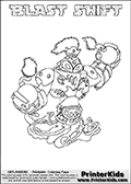 Skylanders Swap Force coloring page with BLAST SHIFT. The BLAST SHIFT Skylander figure cannot be bought as it is, it must be made by combining parts from BLAST zone AND NIGHT SHIFT! BLAST SHIFT is drawn with the upper part of the BLAST ZONE Skylander and the lower part of the NIGHT SHIFT Skylander. In this coloring page, the BLAST SHIFT skylander can be colored completely. The colouring page is drawn with a thin shaded line and has a colorable text with the BLAST SHIFT letters as well. Print and color this Skylanders Swap Force BLAST SHIFT coloring book page that is drawn and made available by Loke Hansen (http://www.LokeHansen.com) based on the original artwork of the Skylanders characters from the Skylanders Swap Force website. This line variant is the -editors choice- where detail areas and line appearance are in best balance. Be sure to check the two other variants of this coloring page for more stroke (the line used to draw the BLAST SHIFT with) options.