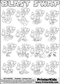 Printable or online colorable Skylanders Swap Force coloring page with all 16 combinations of Skylanders made with the BLAST upper part. The skylanders coloring figures are relatively small - but there are 16 different on this coloring page. Print and color this Skylanders Swap Force BLAST SWAP coloring print page that is drawn and made available by Loke Hansen (http://www.LokeHansen.com) based on the original artwork of the Skylanders characters from the Skylanders Swap Force website. This coloring page variant has the highest amount of detail areas due to the thin drawing line used. The Skylanders combinations show here for coloring are: BLAST ZONE, BLAST JET, BLAST STONE, BLAST KRAKEN, BLAST RANGER, BLAST BLADE, BLAST DRILLA, BLAST LOOP, BLAST CHARGE, BLAST SHIFT, BLAST SHAKE, BLAST ROUSER, BLAST RISE, BLAST BOMB, BLAST SHADOW and BLAST BUCKLER.