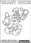 Coloring page with BLAST ZONE from the 2013 Skylanders game called Skylanders SwapForce. The Skylanders Swap Force universe offer new unique characters that can be combined into even more characters. The Skylanders character in this coloring print - BLAST ZONE is a standard character and has no parts from other Skylanders characters. It can however replace either the upper or lower body with that of another Skylanders character. This coloring page for printing show the Skylander in full. Print and color this Skylanders Swap Force BLAST ZONE page that is drawn by Loke Hansen (http://www.LokeHansen.com) based on the original artwork of the Skylanders characters.