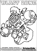 Printable or online colorable Skylanders Swap Force coloring page with the original swappable character BLAST ZONE. BLAST ZONE is a Skylander that can be bought and combined with other swappable Skylanders - the two parts BLAST and ZONE are in the same figure box! The colouring page is drawn with a thick line. This make the coloring page ideal for the youngest fans. The printable coloring page also have the skylander name as colorable text. Print and color this Skylanders Swap Force BLAST ZONE coloring print page that is drawn and made available by Loke Hansen (http://www.LokeHansen.com) based on the original artwork of the Skylanders characters from the Skylanders Swap Force website.