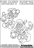 Printable or online colorable Skylanders Swap Force coloring page with two colorable variants of  the original swappable character BLAST ZONE. BLAST ZONE is a Skylander that can be bought and combined with other swappable Skylanders - the two parts BLAST and ZONE are in the same figure box! The colouring page is drawn with a super thin line that has a shadow applied to it. This make the stroke easier to see while maintaining the majority of the colorable areas. The printable coloring page also have the skylander name as colorable text. Print and color this Skylanders Swap Force BLAST ZONE coloring print page that is drawn and made available by Loke Hansen (http://www.LokeHansen.com) based on the original artwork of the Skylanders characters from the Skylanders Swap Force website.