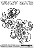 Printable or online colorable Skylanders Swap Force coloring page with two colorable variants of  the original swappable character BLAST ZONE. BLAST ZONE is a Skylander that can be bought and combined with other swappable Skylanders - the two parts BLAST and ZONE are in the same figure box! The colouring page is drawn with a thick line. This make the coloring page ideal for the youngest fans. The printable coloring page also have the skylander name as colorable text. Print and color this Skylanders Swap Force BLAST ZONE coloring print page that is drawn and made available by Loke Hansen (http://www.LokeHansen.com) based on the original artwork of the Skylanders characters from the Skylanders Swap Force website.