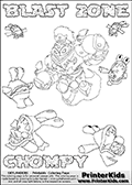 Printable or online colorable Skylanders Swap Force coloring page with the original swappable character BLAST ZONE and 6 Chompy figures (chompies that can be colored). Chompies are somewhat easy opponents players face in the different Skylanders games. BLAST ZONE is a Skylander that can be bought and combined with other swappable Skylanders - the two parts BLAST and ZONE are in the same figure box! The colouring page is drawn with a super thin line and has a colorable text with the BLAST ZONE and CHOMPY letters. Print and color this Skylanders Swap Force BLAST ZONE coloring print page that is drawn and made available by Loke Hansen (http://www.LokeHansen.com) based on the original artwork of the Skylanders characters from the Skylanders Swap Force website. This coloring page variant has the highest amount of detail areas due to the thin drawing line used. Be sure to check the two other variants of this coloring page for more stroke (the line used to draw the BLAST ZONE with) options.