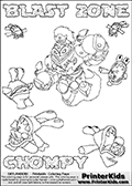 Printable or online colorable Skylanders Swap Force coloring page with the original swappable character BLAST ZONE and 6 Chompy figures (chompies that can be colored). Chompies are somewhat easy opponents players face in the different Skylanders games.  BLAST ZONE is a Skylander that can be bought and combined with other swappable Skylanders - the two parts BLAST and ZONE are in the same figure box! The colouring page is drawn with a super thin line that has a shadow applied to it. This make the stroke easier to see while maintaining the majority of the colorable areas. The printable coloring page also have the skylander name and CHOMPY as colorable text. Print and color this Skylanders Swap Force BLAST ZONE coloring print page that is drawn and made available by Loke Hansen (http://www.LokeHansen.com) based on the original artwork of the Skylanders characters from the Skylanders Swap Force website.
