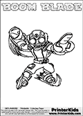 Colorable page for printing with the BOOM BLADE Skylanders Swap Force figure from 2013. Skylanders Swap Force is the 3rd generation of multi-platform Skylanders games. The Skylanders Swap Force game was released during fall 2013. The Skylanders Swap Force character in this coloring page - BOOM BLADE has the upper body part of the BOOM JET Skylanders Swap Force character and the lower part of the DOOM STONE Skylanders Swap Force character. This coloring page for printing show the Skylander in full along with a colorable name. Print and color this Skylanders Swap Force BOOM BLADE page that is drawn by Loke Hansen (http://www.LokeHansen.com) based on the original artwork of the Skylanders characters.
