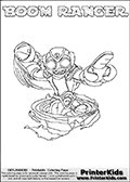 Colorable page for printing with BOOM RANGER from the 3rd generation of multi-platform Skylanders Swap Force game from 2013.  The Skylanders Swap Force character in this coloring page - BOOM RANGER has the upper body part of the BOOM JET Skylanders Swap Force character and the lower part of the FREE RANGER Skylanders Swap Force character. This coloring page for printing show the Skylander in full along with a colorable name. Print and color this Skylanders Swap Force BOOM RANGER page that is drawn by Loke Hansen (http://www.LokeHansen.com) based on the original artwork of the Skylanders characters.