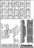 Printable Skylanders Swap Force coloring page for kids with all 16 combinations of Skylanders made with the BOOM upper part. Most of the skylanders coloring figures are relatively small - but the printable colouring sheet is really fun nonetheless. Print and color this Skylanders Swap Force MASTERS BOOM SWAP coloring print page that is drawn and made available by Loke Hansen (http://www.LokeHansen.com) based on the original artwork of the Skylanders characters from the Skylanders Swap Force website. This coloring page variant was originally designed as a coloring page section teaser for the PrinterKids website - but my own kids just loved it so much I turned it into a coloring page others could print as well! The Skylanders combinations show here for coloring are: BOOM ZONE, BOOM JET, BOOM STONE, BOOM KRAKEN, BOOM RANGER, BOOM BLADE, BOOM DRILLA, BOOM LOOP, BOOM CHARGE, BOOM SHIFT, BOOM SHAKE, BOOM ROUSER, BOOM RISE, BOOM BOMB, BOOM SHADOW and BOOM BUCKLER.