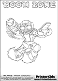 Coloring page with BOOM ZONE from the 2013 Skylanders game called Skylanders SwapForce. The Skylanders Swap Force universe offer new unique characters that can be combined into even more characters. The Skylanders character in this coloring print - BOOM ZONE has the lower part of the BLAST ZONE Skylander character and the upper part of the BOOM JET character. This coloring page for printing show the Skylander in full. Print and color this Skylanders Swap Force BOOM ZONE page that is drawn by Loke Hansen (http://www.LokeHansen.com) based on the original artwork of the Skylanders characters.