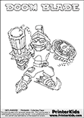 Coloring page with DOOM BLADE from the 2013 Skylanders game called Skylanders SwapForce. The Skylanders Swap Force universe offer new unique characters that can be combined into even more characters. The Skylanders character in this coloring print - DOOM BLADE has the upper part of the DOOM STONE Skylander character and the lower part of the FREEZE BLADE character. This coloring page for printing show the Skylander in full. Print and color this Skylanders Swap Force DOOM BLADE page that is drawn by Loke Hansen (http://www.LokeHansen.com) based on the original artwork of the Skylanders characters.