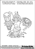 Printable colouring page that show the DOOM DRILLA Skylanders Swap Force combined figure. The Skylander in this page to color- DOOM DRILLA is a combined Skylander that is made from two different Skylanders figures. It has the upper part of the DOOM STONE Skylander and the lower part of the GRILLA DRILLA Skylander. This coloring page for printing show the Skylander in full and include a colorable name of the figure at the top too. Print and color this Skylanders Swap Force DOOM DRILLA page that is drawn by Loke Hansen (http://www.LokeHansen.com) based on the original artwork of the Skylanders characters.