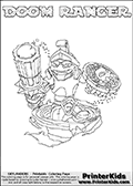 Coloring page with DOOM RANGER from the 2013 Skylanders game called Skylanders SwapForce. The Skylanders Swap Force universe offer new unique characters that can be combined into even more characters. The Skylanders character in this coloring print - DOOM RANGER has the upper part of the DOOM STONE Skylander character and the lower part of the FREE RANGER character. This coloring page for printing show the Skylander in full. Print and color this Skylanders Swap Force DOOM RANGER page that is drawn by Loke Hansen (http://www.LokeHansen.com) based on the original artwork of the Skylanders characters.