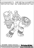 Skylanders Swap Force - DOOM SHADOW - Coloring Page 1 Super Thin Line