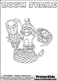Printable or online colorable Skylanders Swap Force coloring page. This colouring sheet show the combination skylander DOOM SHAKE that has to be made by combining parts from other Skylanders Swap Force characters! DOOM SHAKE is drawn with the upper part of the DOOM STONE Skylander and the lower part of the RATTLE SHAKE Skylander. In this coloring page, the DOOM SHAKE skylander can be colored in full - as a complete skylander. The colouring page is drawn with a super thin line and has a colorable text with the DOOM SHAKE letters as well. Print and color this Skylanders Swap Force DOOM SHAKE coloring book page that is drawn and made available by Loke Hansen (http://www.LokeHansen.com) based on the original artwork of the Skylanders characters from the Skylanders Swap Force website. This coloring page variant has the highest amount of detail areas due to the thin drawing line used. Be sure to check the two other variants of this coloring page for more stroke (the line used to draw the DOOM SHAKE with) options.