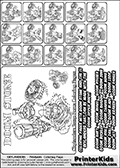 Printable Skylanders Swap Force coloring page for kids with all 16 combinations of Skylanders made with the DOOM upper part. Most of the skylanders coloring figures are relatively small - but the printable colouring sheet is really fun nonetheless. Print and color this Skylanders Swap Force MASTERS DOOM SWAP coloring print page that is drawn and made available by Loke Hansen (http://www.LokeHansen.com) based on the original artwork of the Skylanders characters from the Skylanders Swap Force website. This coloring page variant was originally designed as a coloring page section teaser for the PrinterKids website - but my own kids just loved it so much I turned it into a coloring page others could print as well! The Skylanders combinations show here for coloring are: DOOM ZONE, DOOM JET, DOOM STONE, DOOM KRAKEN, DOOM RANGER, DOOM BLADE, DOOM DRILLA, DOOM LOOP, DOOM CHARGE, DOOM SHIFT, DOOM SHAKE, DOOM ROUSER, DOOM RISE, DOOM BOMB, DOOM SHADOW and DOOM BUCKLER.
