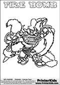 Printable and online colorable page for Skylanders Swap Force fans with the combination figure called FIRE BOMB. FIRE BOMB must be made by combining parts from other Skylanders Swap Force characters! FIRE BOMB is drawn with the upper part of the FIRE KRAKEN Skylander and the lower part of the STINK BOMB Skylander, the part used from each Skylander is used in the new skylanders name. In this coloring page, the FIRE BOMB skylander can be colored completely. The colouring page is drawn with a very thick line making it ideal for the youngest Skylanders Swap Force fans. The downside of the thick line is that some detail areas become unavailable for coloring. The coloring page has a colorable text with the FIRE BOMB letters as well. Print and color this Skylanders Swap Force FIRE BOMB coloring book page that is drawn and made available by Loke Hansen (http://www.LokeHansen.com) based on the original artwork of the Skylanders characters from the Skylanders Swap Force website. Be sure to check the two other variants of this coloring page for more line width options.