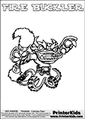 Printable and online colorable page for Skylanders Swap Force fans with the combination figure called FIRE BUCKLER. FIRE BUCKLER must be made by combining parts from other Skylanders Swap Force characters! FIRE BUCKLER is drawn with the upper part of the FIRE KRAKEN Skylander and the lower part of the WASH BUCKLER Skylander, the part used from each Skylander is used in the new skylanders name. In this coloring page, the FIRE BUCKLER skylander can be colored completely. The colouring page is drawn with a very thick line making it ideal for the youngest Skylanders Swap Force fans. The downside of the thick line is that some detail areas become unavailable for coloring. The coloring page has a colorable text with the FIRE BUCKLER letters as well. Print and color this Skylanders Swap Force FIRE BUCKLER coloring book page that is drawn and made available by Loke Hansen (http://www.LokeHansen.com) based on the original artwork of the Skylanders characters from the Skylanders Swap Force website. Be sure to check the two other variants of this coloring page for more line width options.