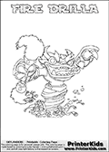Printable colouring page that show the FIRE DRILLA Skylanders Swap Force combined figure. The Skylander in this page to color- FIRE DRILLA is a combined Skylander that is made from two different Skylanders figures. It has the upper part of the FIRE KRAKEN Skylander and the lower part of the GRILLA DRILLA Skylander. This coloring page for printing show the Skylander in full and include a colorable name of the figure at the top too. Print and color this Skylanders Swap Force FIRE DRILLA page that is drawn by Loke Hansen (http://www.LokeHansen.com) based on the original artwork of the Skylanders characters.