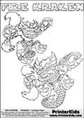 Printable or online colorable Skylanders Swap Force coloring page with two colorable variants of  the original swappable character FIRE KRAKEN. FIRE KRAKEN is a Skylander that can be bought and combined with other swappable Skylanders - the two parts FIRE and KRAKEN are in the same figure box! The colouring page is drawn with a super thin line that has a shadow applied to it. This make the stroke easier to see while maintaining the majority of the colorable areas. The printable coloring page also have the skylander name as colorable text. Print and color this Skylanders Swap Force FIRE KRAKEN coloring print page that is drawn and made available by Loke Hansen (http://www.LokeHansen.com) based on the original artwork of the Skylanders characters from the Skylanders Swap Force website.