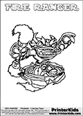 Coloring page with FIRE RANGER from the 2013 Skylanders game called Skylanders SwapForce. The Skylanders Swap Force universe offer new unique characters that can be combined into even more characters. The Skylanders character in this coloring print - FIRE RANGER has the upper part of the FIRE KRAKEN Skylander character and the lower part of the FREE RANGER character. This coloring page for printing show the Skylander in full. Print and color this Skylanders Swap Force FIRE RANGER page that is drawn by Loke Hansen (http://www.LokeHansen.com) based on the original artwork of the Skylanders characters.