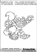 Skylanders Swap Force - FIRE ROUSER - Coloring Page 2 Thin Shaded Line