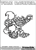 Printable and online colorable page for Skylanders Swap Force fans with the combination figure called FIRE ROUSER. FIRE ROUSER must be made by combining parts from other Skylanders Swap Force characters! FIRE ROUSER is drawn with the upper part of the FIRE KRAKEN Skylander and the lower part of the RUBBLE ROUSER Skylander, the part used from each Skylander is used in the new skylanders name. In this coloring page, the FIRE ROUSER skylander can be colored completely. The colouring page is drawn with a very thick line making it ideal for the youngest Skylanders Swap Force fans. The downside of the thick line is that some detail areas become unavailable for coloring. The coloring page has a colorable text with the FIRE ROUSER letters as well. Print and color this Skylanders Swap Force FIRE ROUSER coloring book page that is drawn and made available by Loke Hansen (http://www.LokeHansen.com) based on the original artwork of the Skylanders characters from the Skylanders Swap Force website. Be sure to check the two other variants of this coloring page for more line width options.