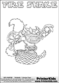Printable or online colorable Skylanders Swap Force coloring page. This colouring sheet show the combination skylander FIRE SHAKE that has to be made by combining parts from other Skylanders Swap Force characters! FIRE SHAKE is drawn with the upper part of the FIRE KRAKEN Skylander and the lower part of the RATTLE SHAKE Skylander. In this coloring page, the FIRE SHAKE skylander can be colored in full - as a complete skylander. The colouring page is drawn with a super thin line and has a colorable text with the FIRE SHAKE letters as well. Print and color this Skylanders Swap Force FIRE SHAKE coloring book page that is drawn and made available by Loke Hansen (http://www.LokeHansen.com) based on the original artwork of the Skylanders characters from the Skylanders Swap Force website. This coloring page variant has the highest amount of detail areas due to the thin drawing line used. Be sure to check the two other variants of this coloring page for more stroke (the line used to draw the FIRE SHAKE with) options.