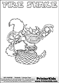 Skylanders Swap Force coloring page with FIRE SHAKE. The FIRE SHAKE Skylander figure cannot be bought as it is, it must be made by combining parts from FIRE KRAKEN and RATTLE SHAKE! FIRE SHAKE is drawn with the upper part of the FIRE KRAKEN Skylander and the lower part of the RATTLE SHAKE Skylander. In this coloring page, the FIRE SHAKE skylander can be colored completely. The colouring page is drawn with a thin shaded line and has a colorable text with the FIRE SHAKE letters as well. Print and color this Skylanders Swap Force FIRE SHAKE coloring book page that is drawn and made available by Loke Hansen (http://www.LokeHansen.com) based on the original artwork of the Skylanders characters from the Skylanders Swap Force website. This line variant is the -editors choice- where detail areas and line appearance are in best balance. Be sure to check the two other variants of this coloring page for more stroke (the line used to draw the FIRE SHAKE with) options.