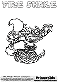 Printable and online colorable page for Skylanders Swap Force fans with the combination figure called FIRE SHAKE. FIRE SHAKE must be made by combining parts from other Skylanders Swap Force characters! FIRE SHAKE is drawn with the upper part of the FIRE KRAKEN Skylander and the lower part of the RATTLE SHAKE Skylander, the part used from each Skylander is used in the new skylanders name. In this coloring page, the FIRE SHAKE skylander can be colored completely. The colouring page is drawn with a very thick line making it ideal for the youngest Skylanders Swap Force fans. The downside of the thick line is that some detail areas become unavailable for coloring. The coloring page has a colorable text with the FIRE SHAKE letters as well. Print and color this Skylanders Swap Force FIRE SHAKE coloring book page that is drawn and made available by Loke Hansen (http://www.LokeHansen.com) based on the original artwork of the Skylanders characters from the Skylanders Swap Force website. Be sure to check the two other variants of this coloring page for more line width options.