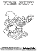 Skylanders Swap Force coloring page with FIRE SHIFT. The FIRE SHIFT Skylander figure cannot be bought as it is, it must be made by combining parts from FIRE KRAKEN and NIGHT SHIFT! FIRE SHIFT is drawn with the upper part of the FIRE KRAKEN Skylander and the lower part of the NIGHT SHIFT Skylander. In this coloring page, the FIRE SHIFT skylander can be colored completely. The colouring page is drawn with a thin shaded line and has a colorable text with the FIRE SHIFT letters as well. Print and color this Skylanders Swap Force FIRE SHIFT coloring book page that is drawn and made available by Loke Hansen (http://www.LokeHansen.com) based on the original artwork of the Skylanders characters from the Skylanders Swap Force website. This line variant is the -editors choice- where detail areas and line appearance are in best balance. Be sure to check the two other variants of this coloring page for more stroke (the line used to draw the FIRE SHIFT with) options.