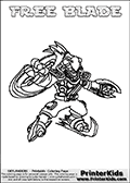Coloring page with FREE BLADE from the 2013 Skylanders game called Skylanders SwapForce. The Skylanders Swap Force universe offer new unique characters that can be combined into even more characters. The Skylanders character in this coloring print - FREE BLADE has the upper part of the FREE RANGER Skylander character and the lower part of the FREEZE BLADE character. This coloring page for printing show the Skylander in full. Print and color this Skylanders Swap Force FREE BLADE page that is drawn by Loke Hansen (http://www.LokeHansen.com) based on the original artwork of the Skylanders characters.
